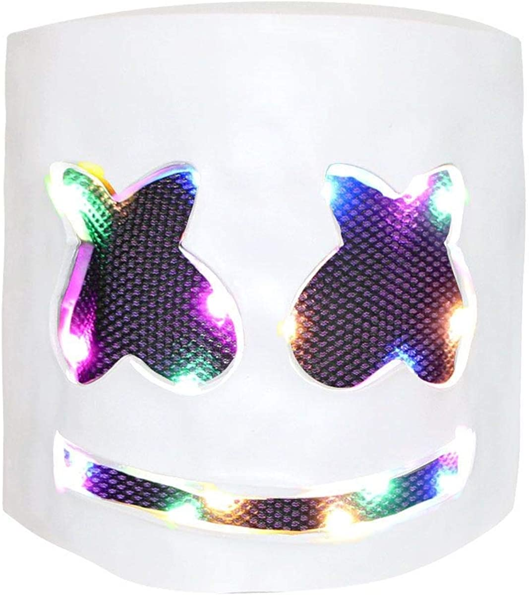 DJ Mask  Music Festival Helmets  Full Head Masks Halloween Party Props Costume Masks White  LED Light up
