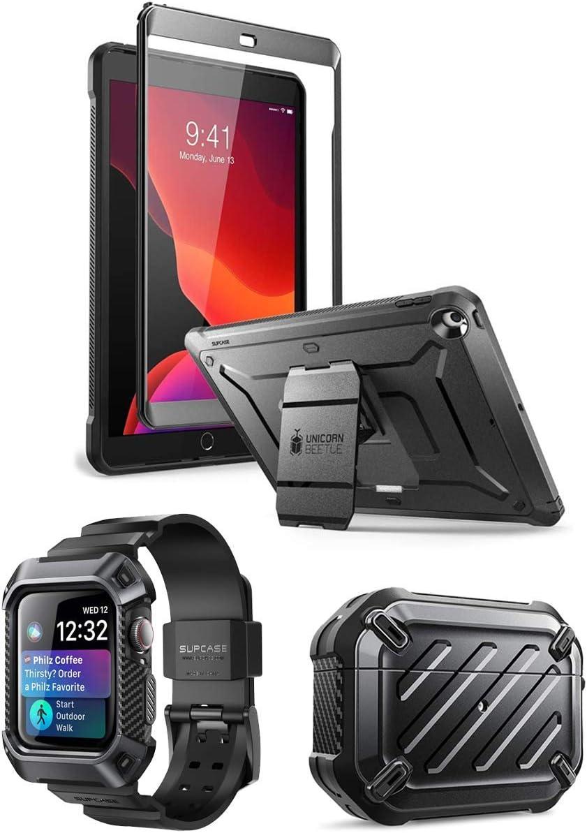 SUPCASE Unicorn Beetle Pro iPad Bundle (Black) - iPad 10.2 inch, AirPods Pro & Apple Watch 4 44mm Case