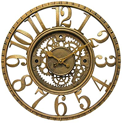 Infinity Instruments Gear Open Dial Resin Clock, Gold by Infinity Instruments