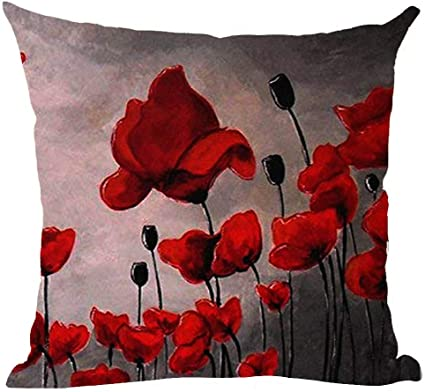 Ramirar Hand Painted Oil Painting Beautiful Red Poppy Flower Pink Black Grey Background Decorative Throw Pillow