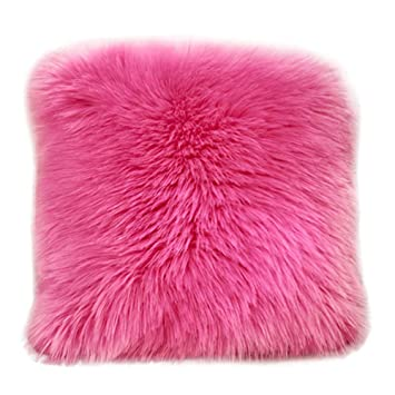 FimKaul Home Decorative Swirl Style Super Soft Faux Fur Throw Pillow Case Shaggy Fluffy Cushion Cover 17.7 x 17.7 (Hot Pink)
