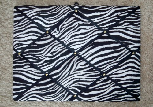 Zebra with Black Ribbon French / Memo - Board Memo Covered Fabric