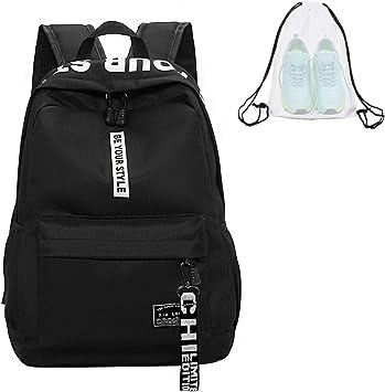 Juego de mochila escolar de lona + bolsa de hombro + monedero/estuche Causal Mochila de ocio Mochila Daypacks Mochila para niñas jóvenes & niños jóvenes mujer hombre, Negro: Amazon.es: Ropa y accesorios