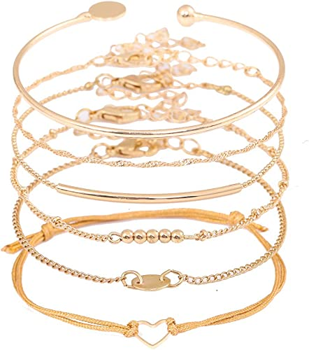 Charm Balls 2 Layers Bracelets Chain Bangle for Women Silver//Gold Gifts Idea