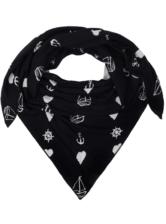 Dreieckstuch aus Baumwolle - Hochwertiger Schal mit maritimen Muster für Damen Jungen Mädchen - Uni - XXL Hals-Tuch und Damenschal - Strick-Waren - für Herbst Frühjahr Sommer von Zwillingsherz 387dc0.3