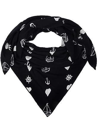 zwillingsherz dreieckstuch aus baumwolle hochwertiger schal mit maritimen muster fr damen jungen mdchen uni - Muster Fur Dreieckstuch