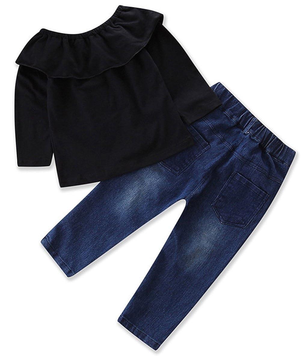 2T-6 stylesilove Little Girls Off Shoulder Ruffle Blouse Top Chic Denim Jeans and Headband 3 Pcs Set