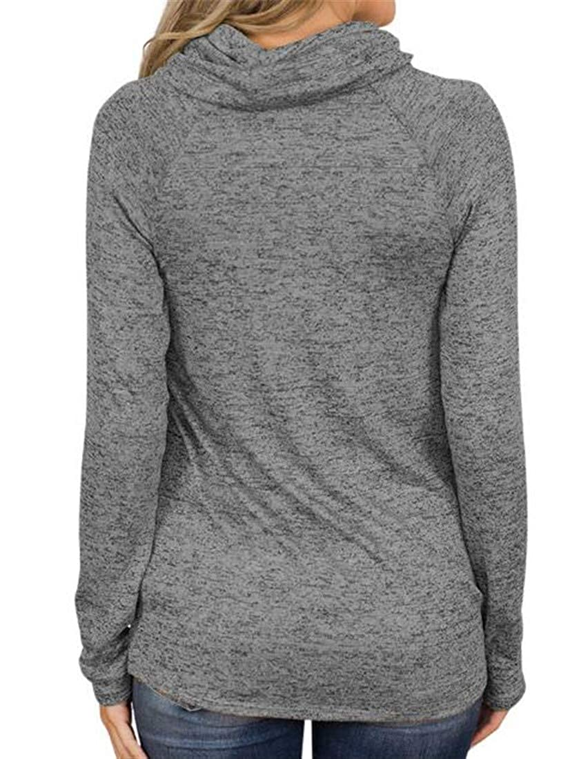 Macondoo Womens High Neck Long Sleeve Top Casual Pullover Sweatshirts