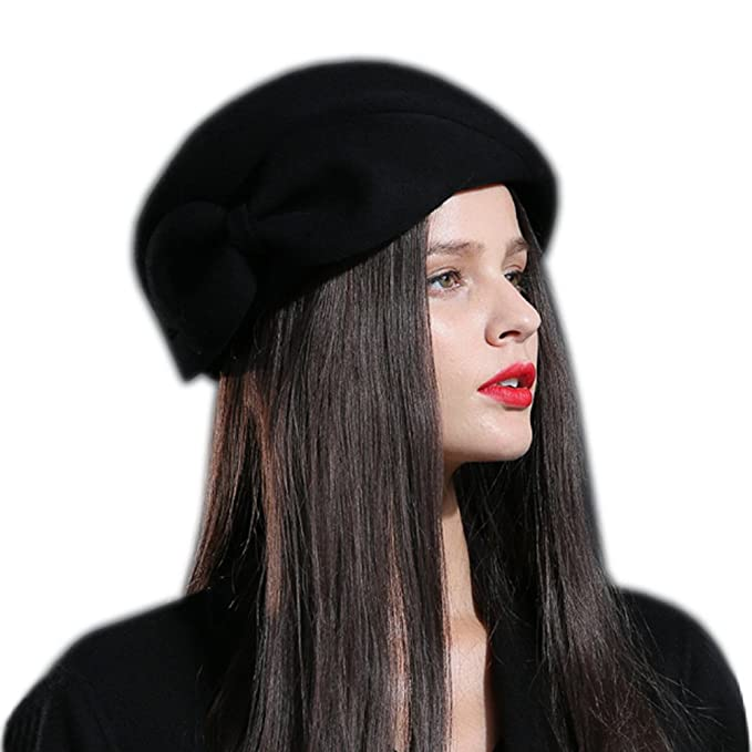 Aniwon Cloche Hat Wool Bucket Winter Hat Party Church Top Hat for Women 3af20489b747