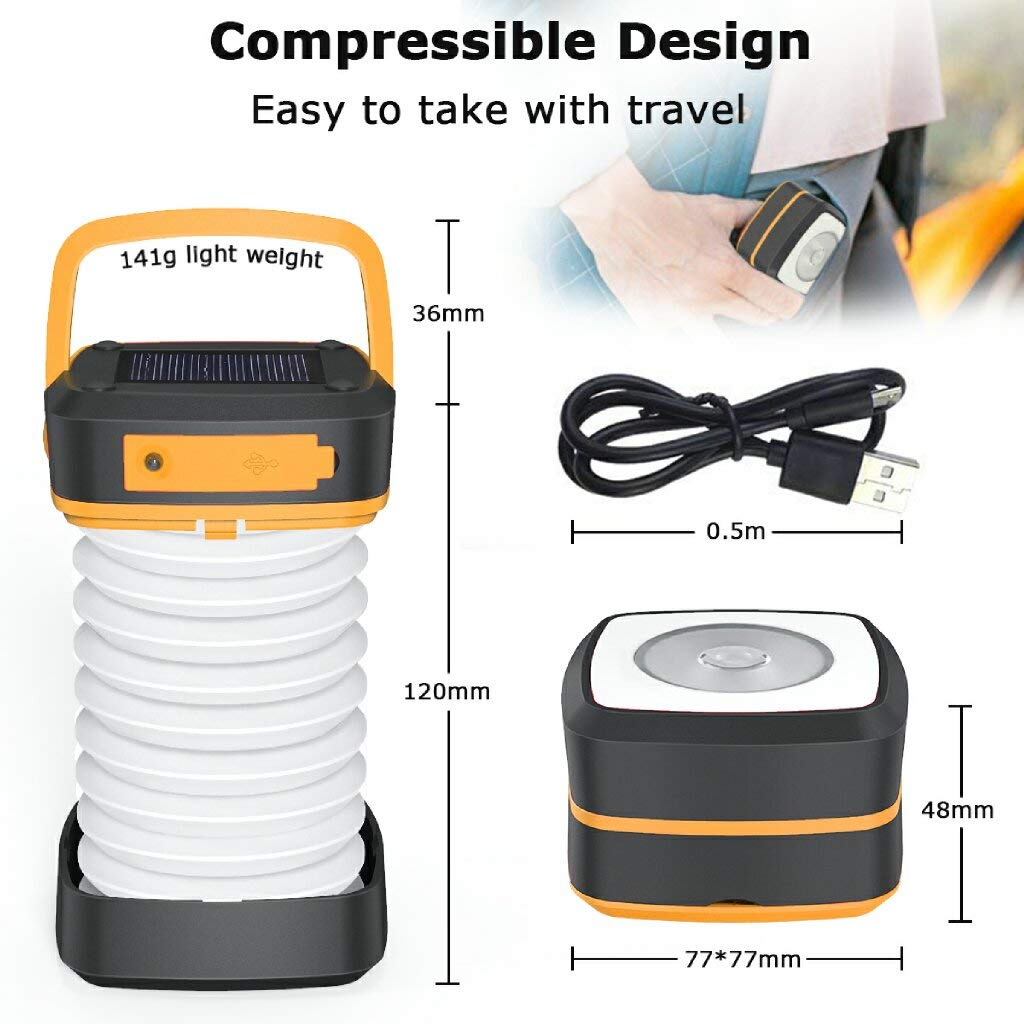 Rechargeable Solar Powered Camping Lamp Portable Collapsible Flashlight with First-Aid Bracelet for Outdoor Hiking Tent Garden Patio GlobaLink LED Camping Lantern Emergency Charger for Phone