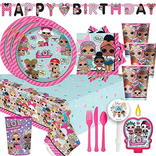 - LOL Surprise Party Supplies Pack With Decorations For 16 With Plates, Cups, Napkins, Cutlery, Birthday Banner, Tablecover, 1 Favor Cup, Candle, and Exclusive Pin