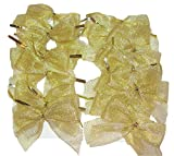 Gold Metallic Mesh Fabric Twist Tie Gift Favor Bows, 20 Ct. Sparkle, Thank You Favors, Treat Bags, Party Decor, Ornaments, Christmas, Weddings, Showers, Promotional Gifts, Party Prizes