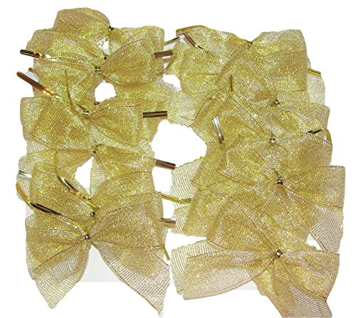 Gold Metallic Mesh Fabric Twist Tie Gift Favor Bows, 20 Ct. Sparkle, Thank You Favors, Treat Bags, Party Decor, Ornaments, Christmas, Weddings, Showers, Promotional Gifts, Party Prizes by Elegant Blooms & Things