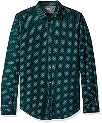 Calvin Klein Jeans Men's English Pine Print Long Sleeve Button Down Shirt