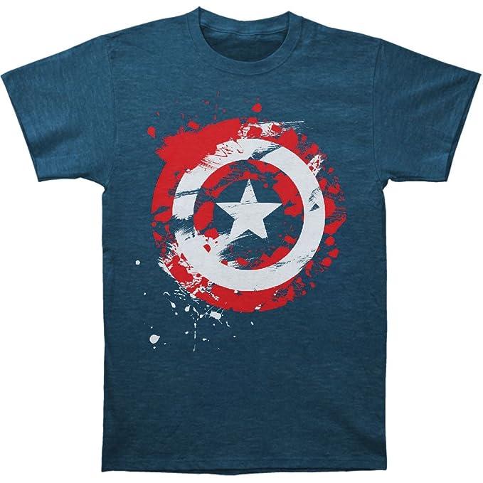 f3d479628 Amazon.com: Captain America Men's Captain Logo Paint T-Shirt Heather ...