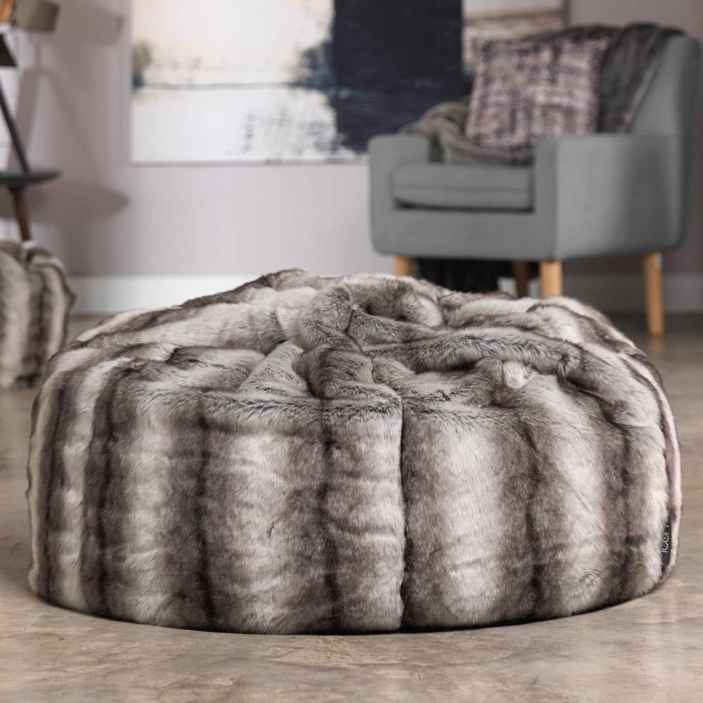 Poltrona sacco extra-large in eco-pelliccia prodotta da ICON Poltrona sacco per adulti di alta qualit/à Poltrona sacco extra-large in eco-pelliccia crema