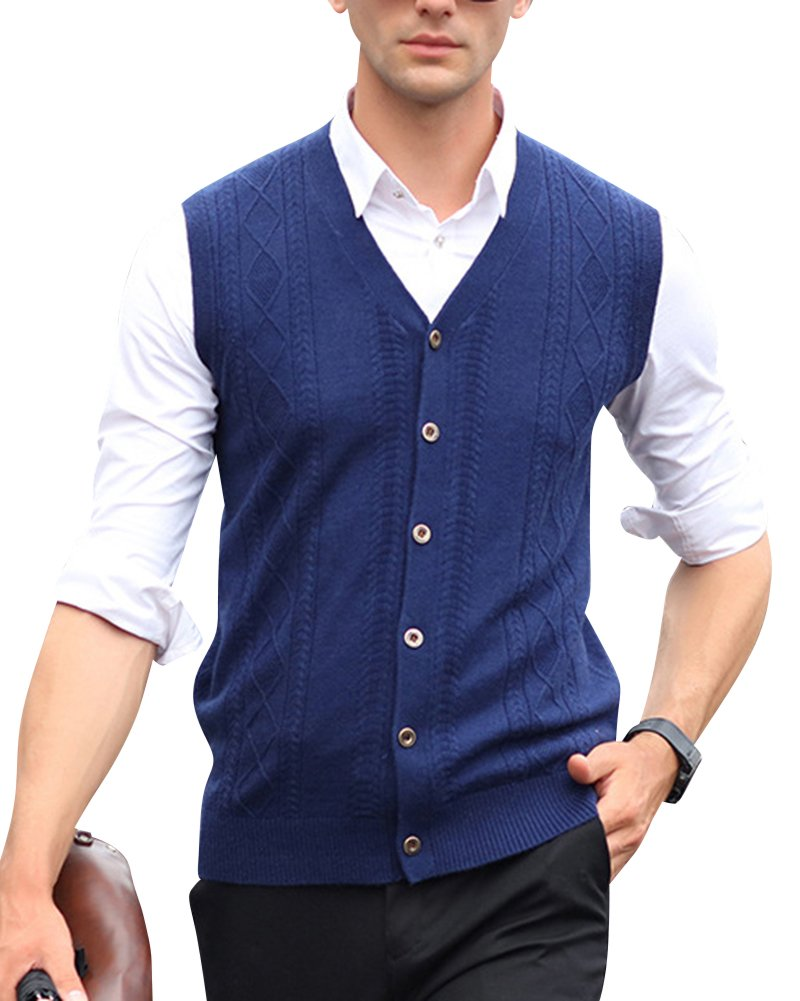 Anyu Mens V-Neck Sleeveless Vest Waistcoat Business Gentleman Knitwear Knitted Sweater Cardigans Tank Tops Gilets