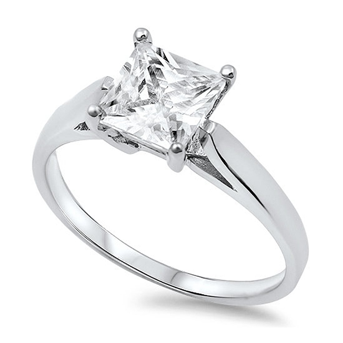 Solitaire Wedding Engagement Bridal Ring Princess Cut Square Cubic Zirconia 925 Sterling Silver-SIZE 5