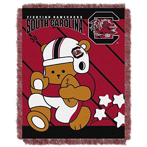 1 Piece South Carolina Fighting Gamecocks Red Baby Blanket,Acrylic Triple Jacquard Sports Woven,Victorian Vivid Colors Teddy Bear Stars Graphic Black Brown Fringe Soft Cozy Comfortable Multicolored