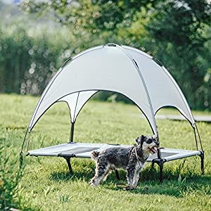 SUPERJARE XLarge Outdoor Dog Bed Elevated Pet Cot with Canopy | Portable for Camping or Beach | Durable 1680D Oxford Fabric | Gray