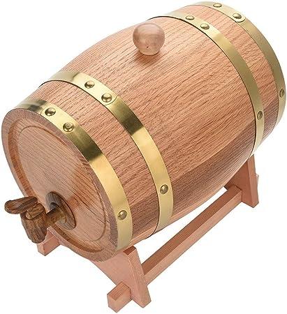 Ejoyous Tonneau de Vin 10L Ch/êne en Bois Durable Vintage Tonneau de Vin et Distributeur avec Support R/écipient pour F/ût /à Vin pour Stockage de Whiskle Vine Tequila Vinaigre Miel Rhum
