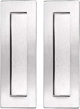 Ignpion - Tiradores para puerta corredera de acero inoxidable, rectangulares, empotrados, para armario o cajón, 2 unidades, color plateado: Amazon.es: Bricolaje y herramientas