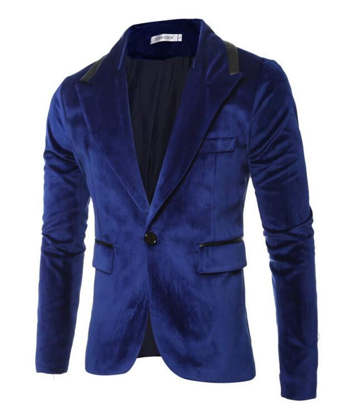 Domple Men's Classic One Button Solid Suede Notch Lapel Suit Blazer Blue US L
