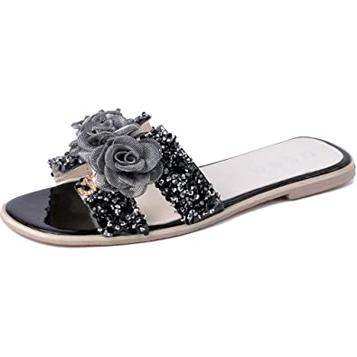75487031250a AVENBER Women s Slides Sandal Wide Band Flats Sequins Satin Twist Floral Knot  Girls Beach Slippers