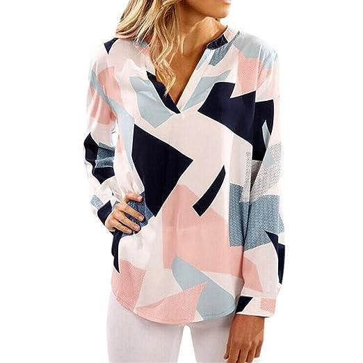 99e873382e4f8 YANG-YI Womens Casual Print V Neck Long Sleeve Shirts Tops Daily Blouse (S