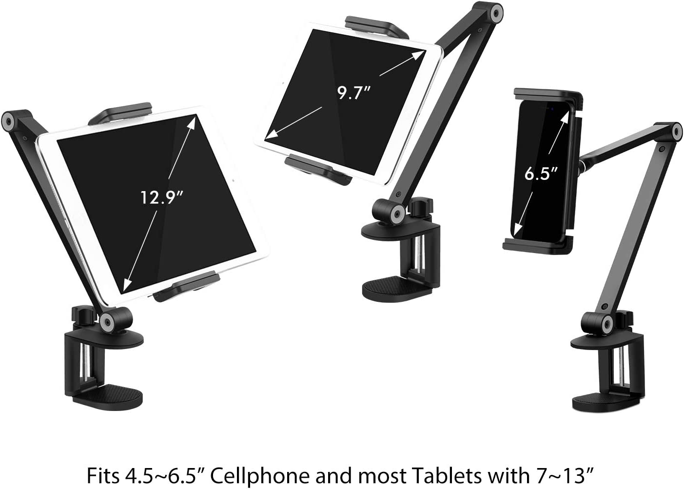 Rotate 360 Degrees of Flexible High-Grade Aluminium Alloy Long Arm Compatible with 4-13 Mobile Phone and Tablet Viozon Tablet Stand Holder Mount iPad Height and Angle Adjustable iPhone White