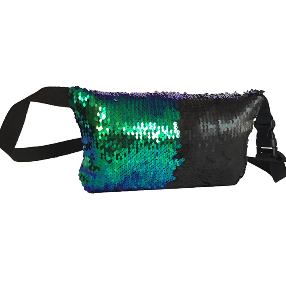 Urberry Women Waist Pack Adjustable Buckles Casual Double Color Sequins Chest Bag (Green&Black)