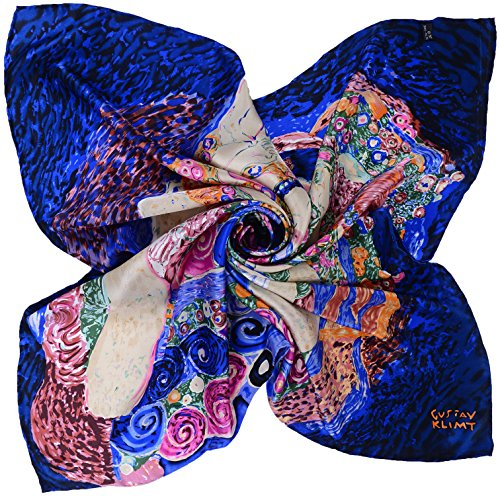 Salutto Women Square Scarf Silk Blue Klimt Virgin Printed Pure Satin