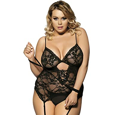 Xl Xl Womens Sexy Babydoll Lingerie Fat Girl Underwear Sexy Lace Nightgown With T Backs
