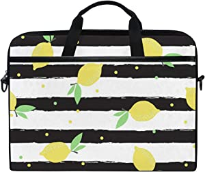 KUWT Laptop Case Polka Dot Stripe Lemon Laptop Shoulder Messenger Bag Case Sleeve Crossbody Briefcase with Strap Handle for Notebook Computer