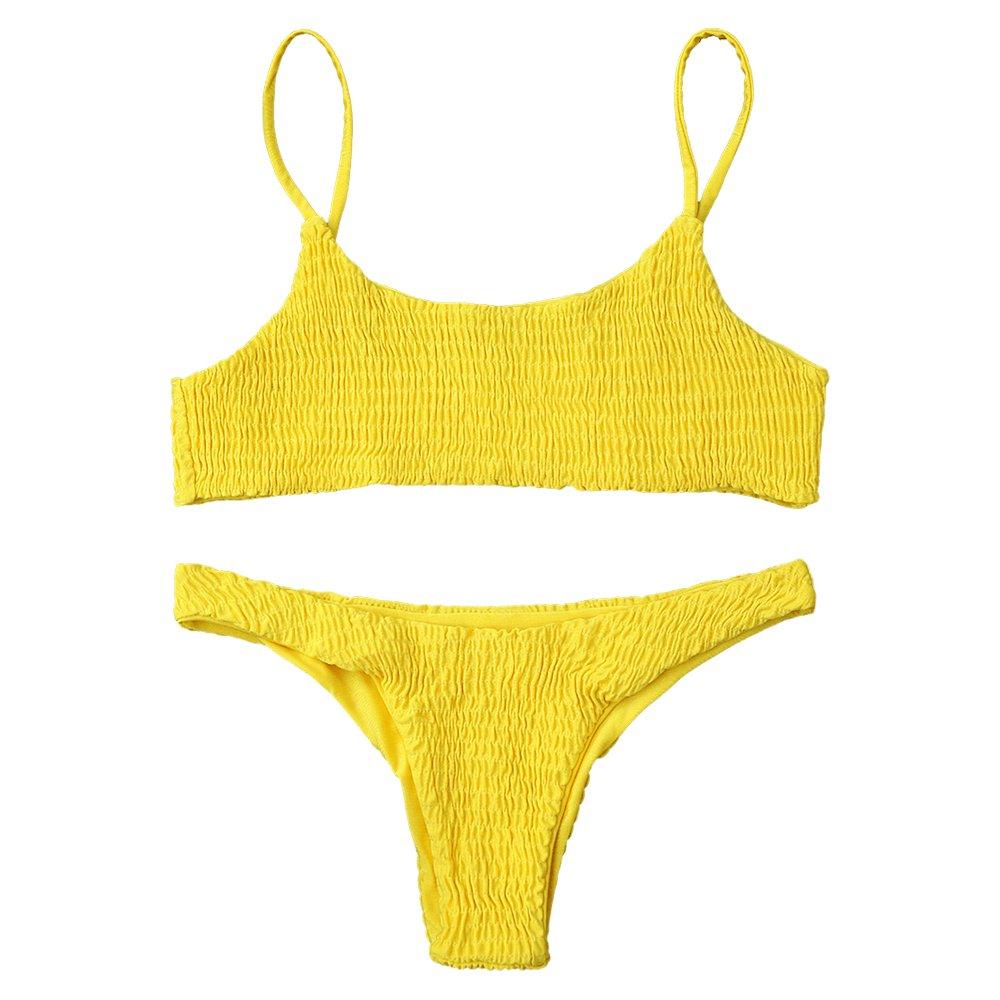 bf4e1d415eb Amazon.com: ZAFUL Women's Sexy Bathing Suit Solid Color Halter Shirred Bikini  Swimsuit: Clothing