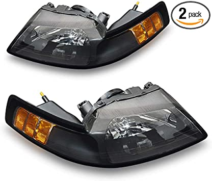 Replacement Headlamp Kit Black Housing with Amber Reflector Clear Lens Headlight Assembly for Ford Mustang 1999 2000 2001 2002 2003 2004 Passenger and Driver side