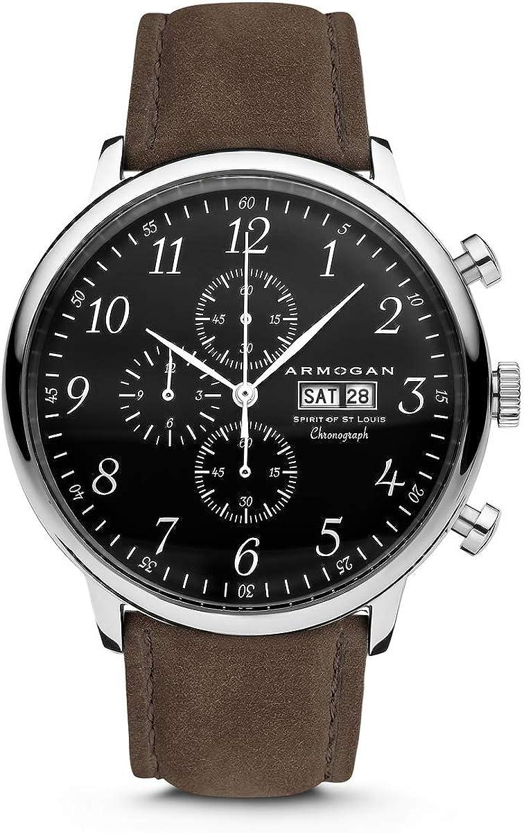 Armogan Spirit of St. Louis – Silver Black – Men s Chronograph Watch Suede Leather Strap