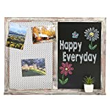 Antique Wall Mounted Metal Mesh Chalkboard Memo Board Combination w/ Rustic Wood Frame