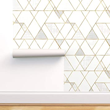 Spoonflower Peel And Stick Removable Wallpaper Mod Triangles White Gold Geometric Modern Geo Neutral Print Self Adhesive Wallpaper 12in X 24in Test Swatch Amazon Com