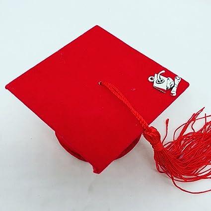 il più votato a buon mercato negozio ufficiale donna tocco cappello bomboniere laurea portaconfetti velluto ROSSO con un  pendente applicato sul tocco in materiale zama