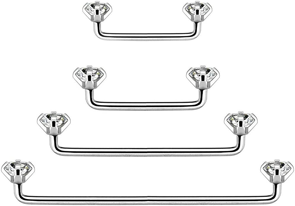 Staple Surface Piercing Shambala Multi Crystal Surface Barbell Surgical Steel