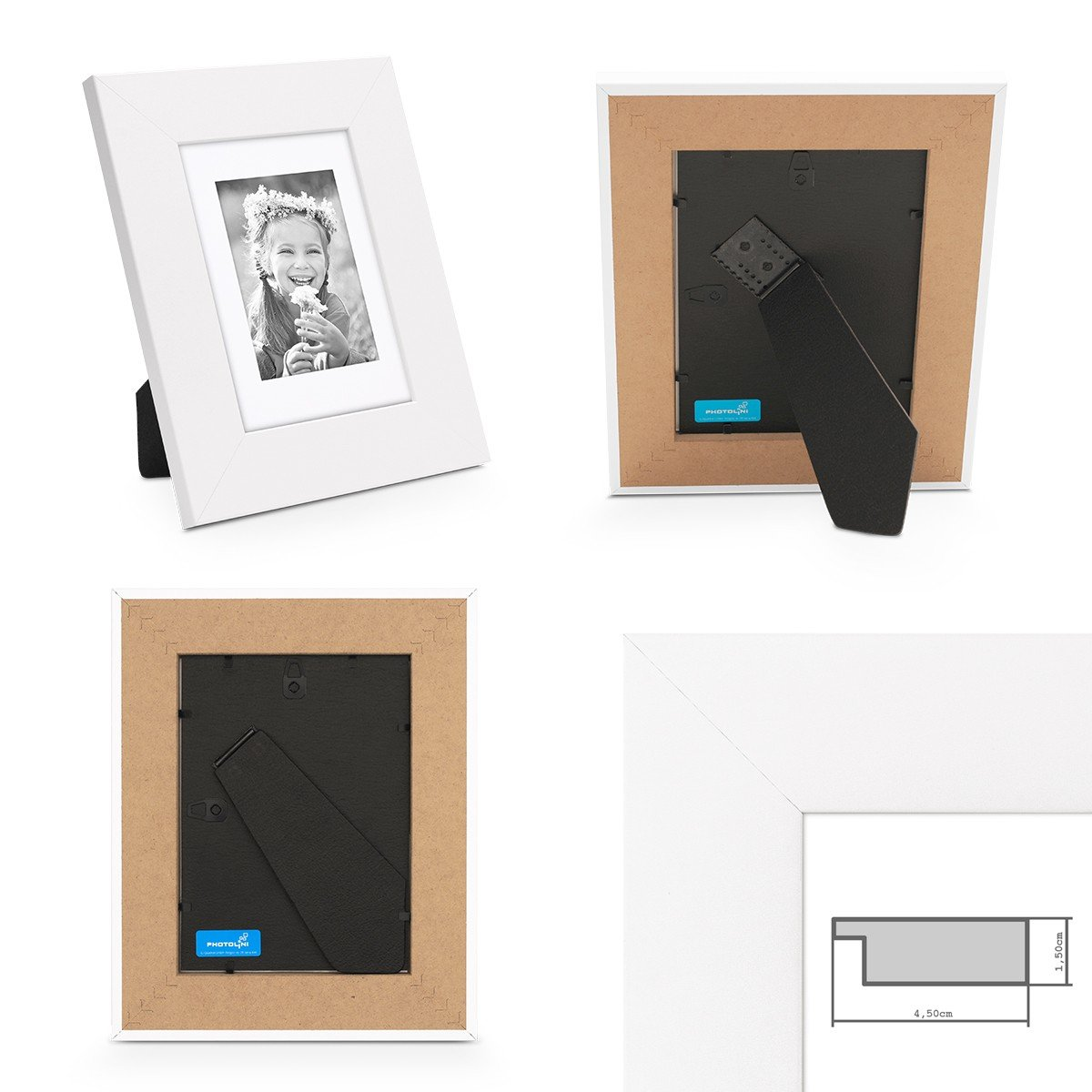 PHOTOLINI Bilderrahmen 15x20 cm Weiss Modern Breit aus MDF mit ...