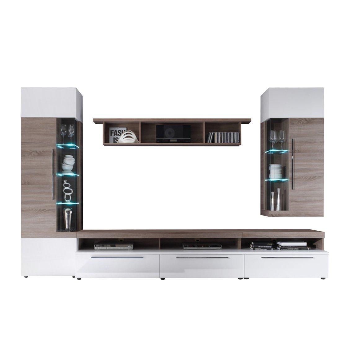 Firstloft A0200 501 0000 Wohnwand Cosmos, Sonoma Eiche Trüffel, Modernes  Design, 330 X 210 X 52 Cm, Weiß Hochglanz Günstig
