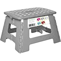 Splendole Small Folding Step Stool 22cm Anti Slip Top Compact Folding Plastic Stool Easy to Store, Perfect for Kitchen Step or Bathroom Step (Grey)