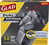 Glad Dual Defense Drawstring Large Trash Bags, 30 Gallon, 50 Count