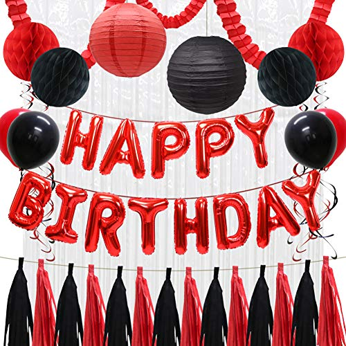 Happy Birthday Balloons Decorations Banner, Red Black Paper Tissue Tassels, Party Balloons, Paper Lanterns, Honeycomb Balls, Hanging Party Swirls, Foil Fringe Curtains, Clover Garland