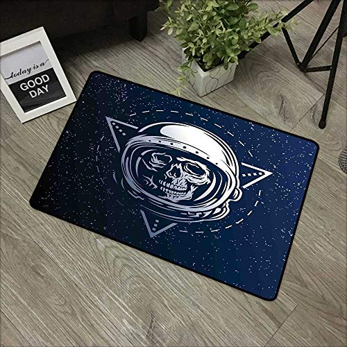 Square Door mat W16 x L24 INCH Outer Space,Dead Skull Head Icon Cosmonaut Costume Astronomy Terrestrial Horror Scare Image,Grey Blue Natural dye Printing to Protect Your Baby's Skin Non-Slip Door Mat -