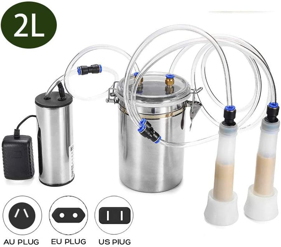 QWERTOUY 2L Electric Milking Machine for Ewe/Cow/Sheep/Goat/Cattle Double Head Portable Farm Milk Vacuum Pump Bucket Milker 110V-220V,Forcow