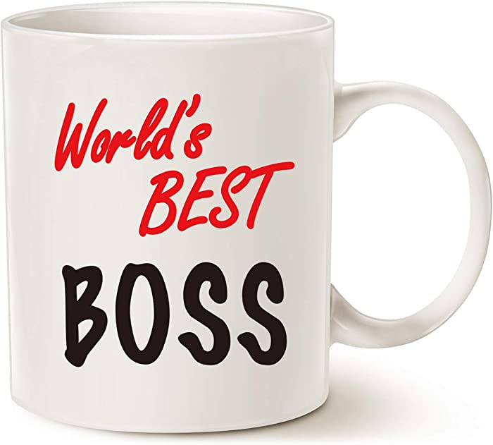 MAUAG World's Best Boss Funny Coffee Mug for Boss Day White 11 Oz, Work and Office Holiday or Birthday Present for Worlds Best Male or Female Bosses, Manager