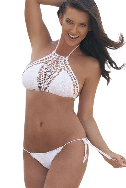 NICE BUY Damen Crochet Push Up Triangel-BH Badeanzug Bikini Cover up